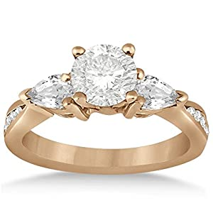 Pear Shape and Round Diamond Three Stone Channel Set Engagement Ring 14k Rose Gold Setting (0.51ct)