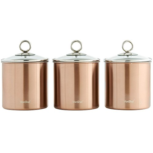 vonshef-set-of-3-copper-tea-coffee-sugar-canisters-kitchen-storage-jars-with-glass-lids-stainless-st