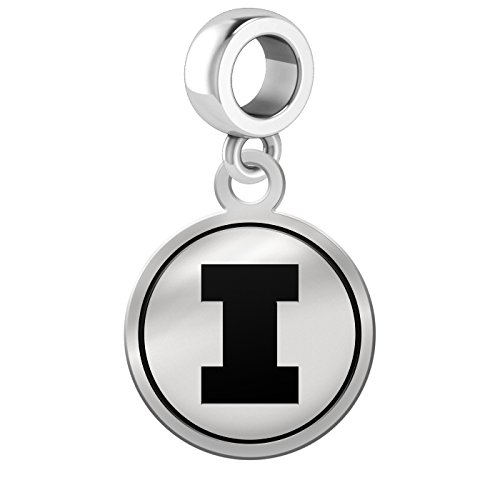 Illinois Fighting Illini Border Round Dangle Charm