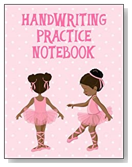 Handwriting Practice Notebook For Girls - A cute little black ballerina against a mostly pink background graces the cover of this handwriting practice notebook for younger girls.