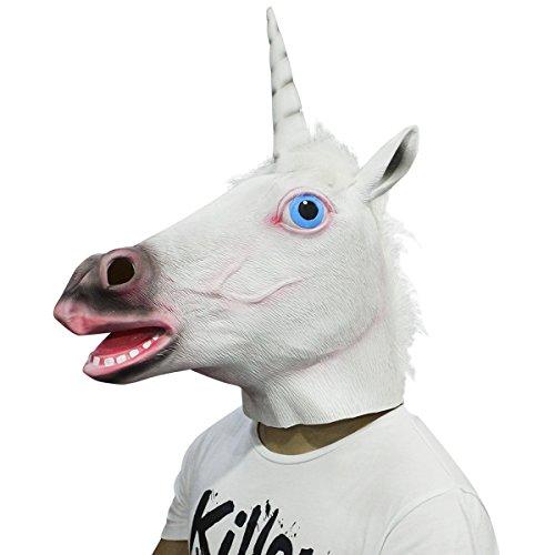 White Unicorn Horse Animal Latex Head Mask Halloween Costume Party Decorations