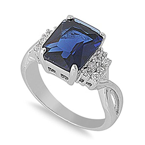 Sterling Silver Womans Dark Blue CZ Ring Wholesale 925 Band 10mm Size 5
