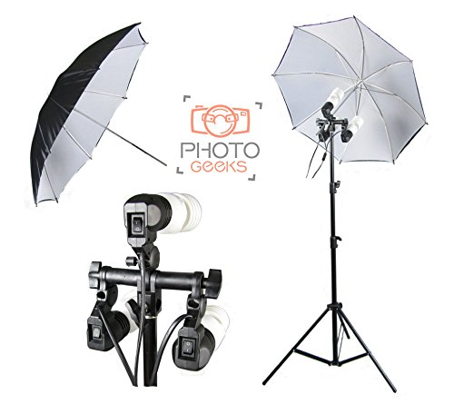 PhotoGeeks Single Continuous Umbrella Studio Light - 3 Bulbs Holder - 675w Fluorescent Lighting