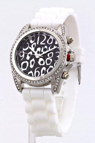 Contempo Couture Animal Print Case Silicone Watch (Black/White)