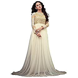 ARAJA FASHION DESIGNER BEIGE COLOR NET FABRIC ROUND EMBROIDERED&STONE WORK FANCY COLLECTION PARTY DIGITAL PRINT , MARRIAGE AND FENECK STIVAL WEAR SEMI STICHED GOWN