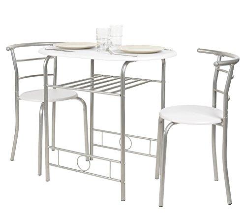 ts-ideen Set 3 pezzi Tavolo con 2 sedie in Alluminio e MDF color Bianco per Cucina o Sala da Pranzo