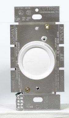 Lutron Electronics D-600Ph-Dk Single Pole Push Rotary Dimmer, 600-Watt, White/Ivory