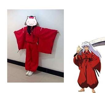 Fantasycart INUYASHA Bright Red Kimono Halloween Costume Cosplay Uniform size XL
