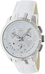 Swatch Men's Irony YRS426 White Leather Quartz Watch with White Dial