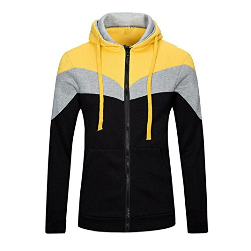Leegor Men Sport Hoodie Stitching Hooded Sweatshirt Cotton Coat Jacket Outwear (2XL, Yellow)