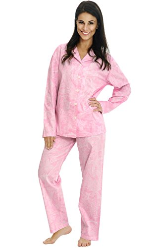 Del Rossa Women's Cotton Pajamas, Long Woven Pj Set, Medium Pink with White Paisleys (A0517P41MD)
