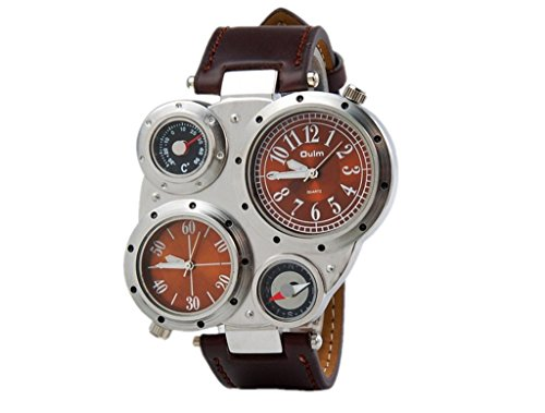 Fashion Army Watch Movement Multi-Function Watch For Men Leather Brown Dial front-580738