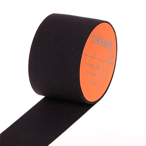 COTOWIN 2-Inch Wide Black Knit Heavy Stretch High Elasticity Elastic Band 5 Yards (Wide Elastic For Sewing compare prices)