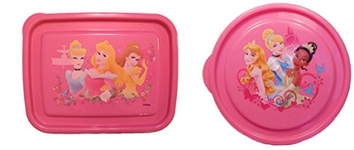 Disney Princesses Tiana, Aurora, Cinderella and Belle Reusable Lunch Food Storage Box Containers 2-pc Set - 1