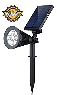 Solar LED Lights [3rd Generation] Siensync(TM) 2-in-1 Solar Powered Outdoor Spotlight for Landscape Lighting Waterproof Wall Light Bulb Driveway Yard Lawn Pathway Garden