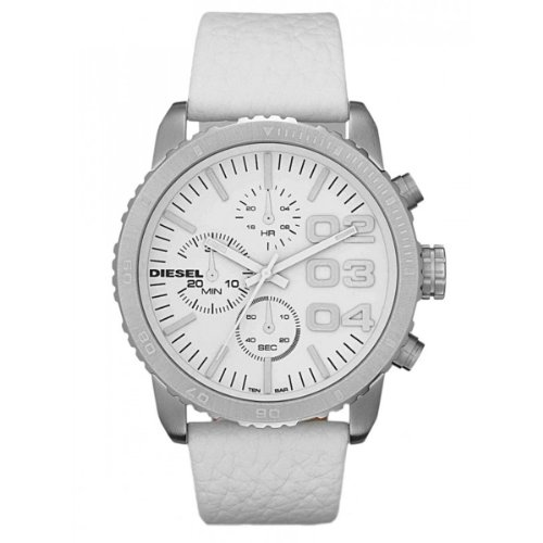 DIESEL Leather Strap Chronograph Watch