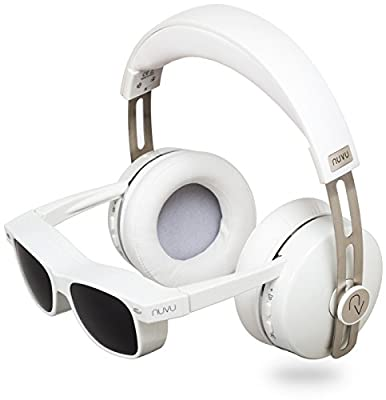 NUVU In-Sight HD Stereo Over-Ear Headphones with Built-In HD Video Glasses for Apple & HDMI - White