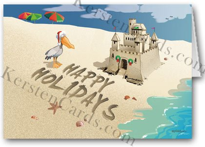 Holiday Sand Castle Beach Holiday Card 12 cards 13 envelopes