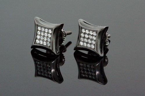 .925 Sterling Silver Black Square White Crystal Micro Pave Unisex Mens Stud Earrings