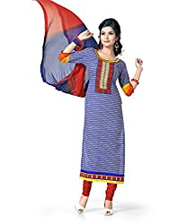 Blue Cotton Printed Unstitcehd Dress Material