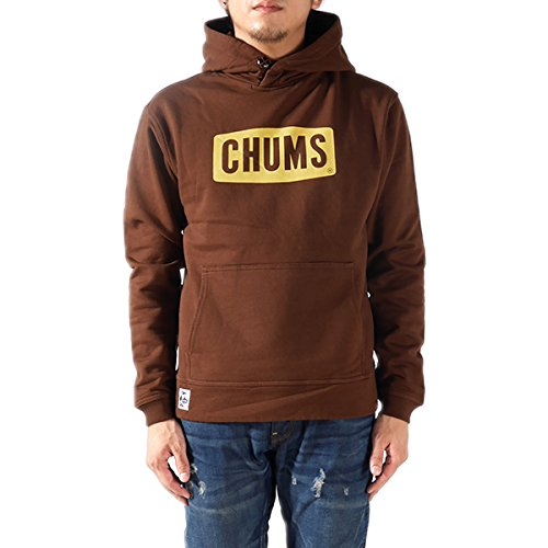 CHUMS チャムス プルオーバー スウェットパーカー CHUMS Logo Pull Over Parka CH00-0646 CH00-0678 スウェット スエット プルオーバー パーカー 長袖 ロゴ プリント メンズ 正規取扱品 (L, 4.Brown(7524))