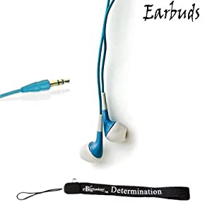 eBigValue: BLUE 3.5mm Jack, Noise Reducing Soft Earbud Exceeded High Quality Headphones + Includes an eBigValue TM Determination Hand Strap