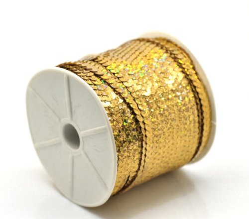 "PEPPERLONELY Brand, 100 Yard Roll Gold Color Flat Bling Sequins Spool String 6mm(1/4"")"