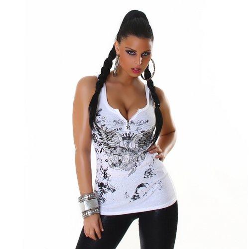 Feinripp-Optik Top Shirt mit Strass-Steinchen und Reißverschluß Größen 34-36 und 36-38 verschiedene Farben