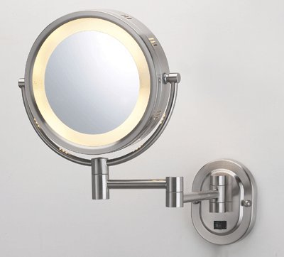 "Seeall 8"" Brushed Nickel Finish Dual Sided Surround Light Wall Mount Makeup Mirror (Hardwired Model) front-92013"