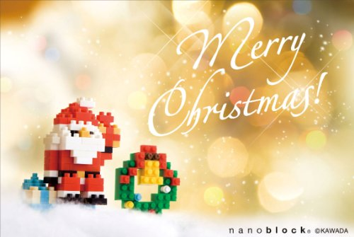 nanoblockクリスマスカード (サンタとリース) ヨコ
