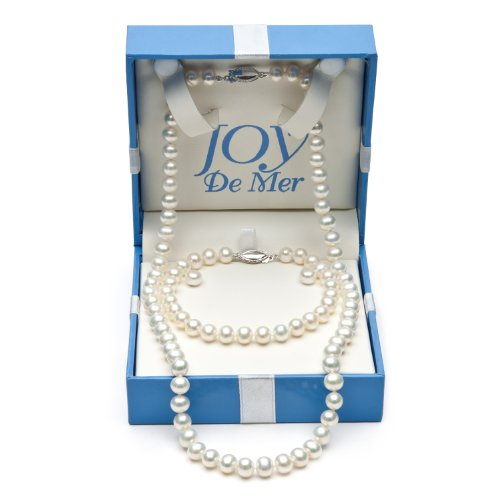 18″ 6-7mm White Freshwater Pearl Necklace, Bracelet and Stud Earrings Set, Sterling Silver in Gift Box