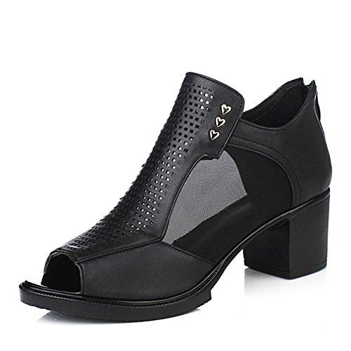 Donne in pelle con i pattini della bocca profonde/Comode scarpe in mesh traspirante mamma/sandali Hollow-B Lunghezza piede=24.8CM(9.8Inch)