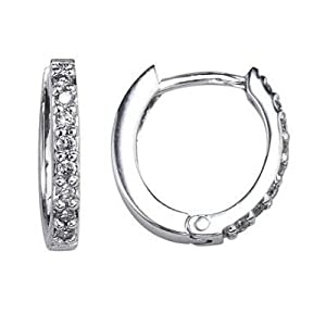 Pave Diamond Huggie Hoop Earrings 14K White Gold (0.14cttw, I Clarity, I Color)