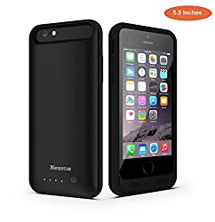 iPhone 6 Plus Battery Case, Nexcon® [Apple MFI certified] - 4000mAh External Protective iPhone 6 Plus Charger Case / iPhone 6 Plus Charging Case Extended Backup Battery Pack Cover Case Fit with Any Version of Apple iPhone 6 Plus(5.5Inches) (iPhone 6 Plus Battery Pack / iPhone 6 Plus Power Case / iPhone 6 Plus USB Juice Bank / iPhone 6 Plus Battery Charger) (Black)