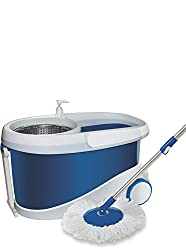 Gala Jet Spin mop with stainless steel wringer, jumbo wheels and 2 refills(White and Blue)