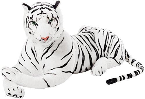 Brubaker Peluche géante - Tigre 110 cm - Blanc