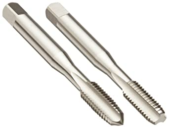 Dormer E500/E513 High-Speed Steel Straight Flute Tap Set, Uncoated (Bright) Finish, Round Shank with Square End, 2-Piece Set (1 Plug, 1 Bottoming Chamfer)