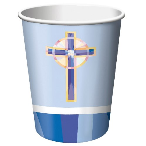 Stained Glass Blue 9oz Hot/Cold Paper Cups 18 Per Pack