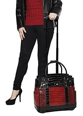"""Baton Rouge"" Burgundy & Black Alligator Computer iPad, Laptop Tablet Rolling Tote Bag Briefcase Carryall Bag"