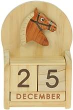 Caballo : Hechos a mano calendario perpetuo de madera. Diversión peculiar de Navidad o idea del regalo de cumpleaños. Presente Comercio Justo (tamaño 10,5 x 7 x 3,5 cm)