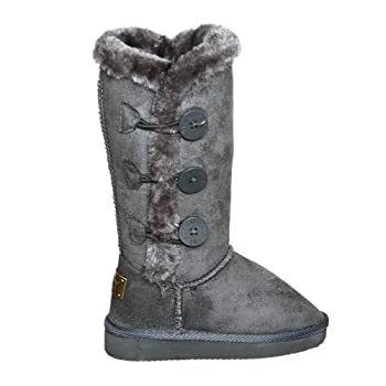 Three Button Fur Lined Mid-calf Snow Boots for GIRLS
