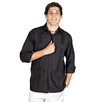 Black Long Sleeve cotton blend Guayabera