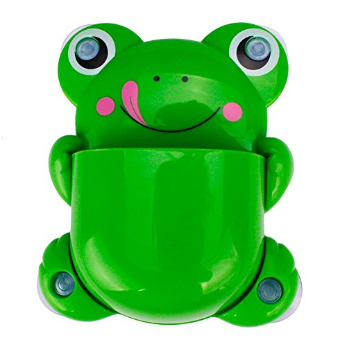 Oksale Toothbrush and Toothpaste Holder Mount Set ,Creative Frog Wall Suction Bathroom Organizer Cup with Sucker (Green)