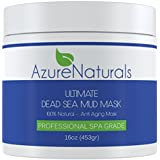 ULTIMATE Dead Sea Mud Facial Mask A 100% Pure, Skin Cleanser, Clarifier, Detoxifier and Natural Moisturizer. This Restorative Anti-Aging Mask Improves Overall Complexion, Aids in Reducing Acne, Blemishes and the Appearance of Fine Lines & Wrinkles for Younger, Healthier Looking Skin. Large 16 oz Container. 100% Guaranteed!