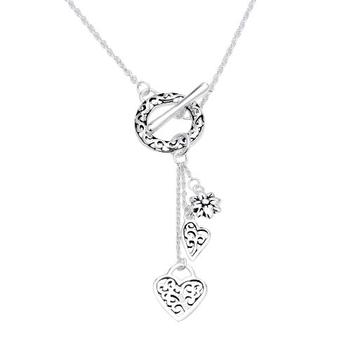 Sterling Silver Filigree Hearts and Flower Charm Necklace, 18