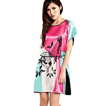 Zehui Womens Imitated Silk Pajamas Sexy Lady Butterfly Loose Dress Sleepwear