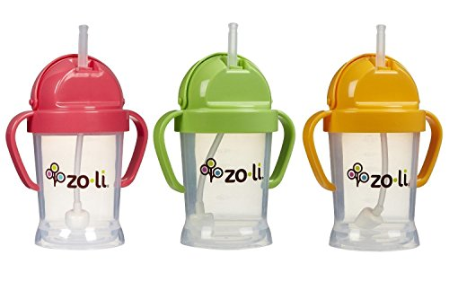 Zoli Baby BOT Straw Sippy Cup 6 oz - 3 Pack, Pink/Green/Orange