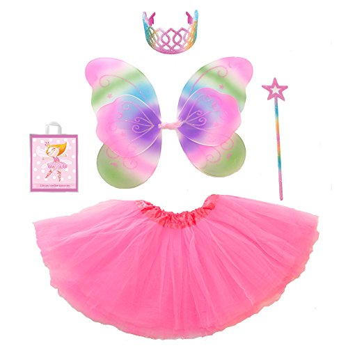 Rainbow Fairy Princess Costume Set with Double Layered Wings and Our Tote Bag