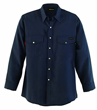 Workrite Flame-Resistant 4.5-oz. Nomex IIIA Long Sleeve Western-Style Shirt, Snap Cuff, Navy Blue