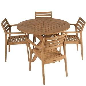 Best+Selling Best Selling 5-Piece Byron Bay Outdoor Teak Wood Dining Set